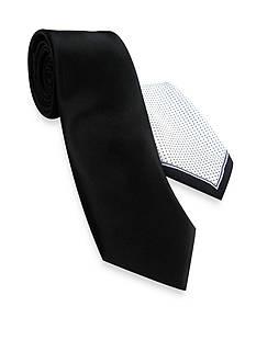 Haggar Solid Tie Pindot & Pocket Square