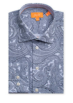 Tallia Orange Slim-Fit Paisley Dress Shirt