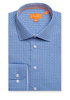 Tallia Orange Slim-Fit Mini Gingham Long Sleeve Dress Shirt