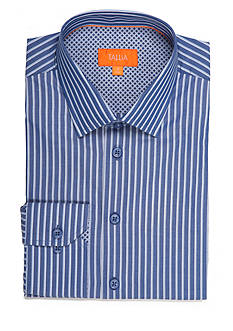 Tallia Orange Slim-Fit Stripe Long Sleeve Shirt