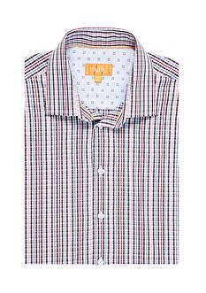 Tallia Orange Slim-Fit Plaid Long Sleeve Shirt