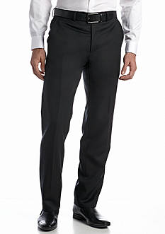 Austin Reed Black Solid Flat Front Pants