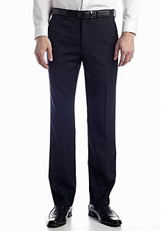 Austin Reed Navy Solid Flat Front Pants