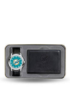 Rico Industries Miami Dolphins Black Watch and Wallet Gift Set-Online Only