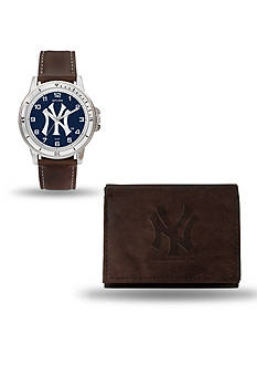 Rico Industries New York Yankees Brown Watch And Wallet Gift Set
