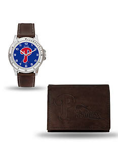 Rico Industries Philadelphia Phillies Brown Watch And Wallet Gift Set