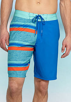 Red Camel Half & Half Striped Four-Way Board Shorts