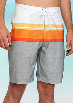 Red Camel Striped 4-Way Board Shorts