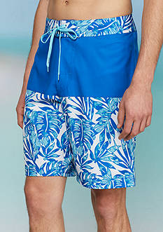 Red Camel Watercolor Blocked 4-Way Board Shorts