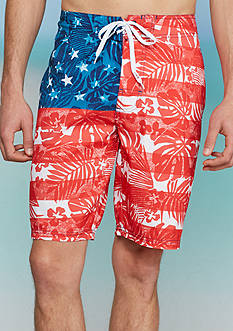 Red Camel Tropical Flag Board Shorts