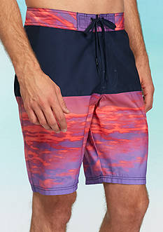 Red Camel Blocked Sunset Board Shorts