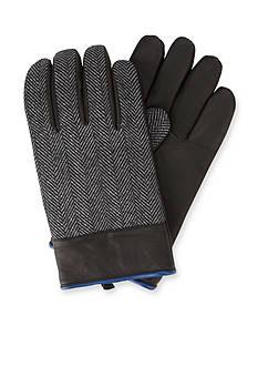 Original Penguin Woolen Herringbone/Leather Gloves