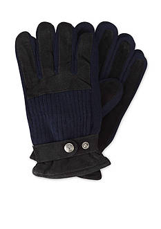 Original Penguin Ribbed Knit and Suede Leather Gloves