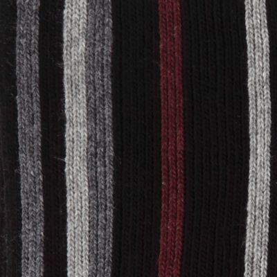 Guys Accessories: Cold Weather: Black Haggar Striped Scarf