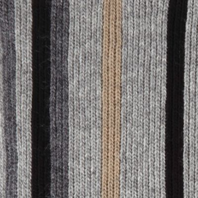 Guys Accessories: Cold Weather: Neutral Gray Haggar Striped Scarf