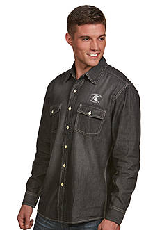 Antigua Michigan State Spartans Long Sleeve Chambray Shirt