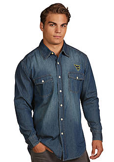 Antigua West Virginia Mountaineers Long Sleeve Chambray Shirt