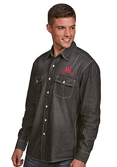 Antigua Wisconsin Badgers Long Sleeve Chambray Shirt