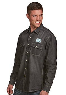 Antigua UNC Tar Heels Long Sleeve Chambray Shirt