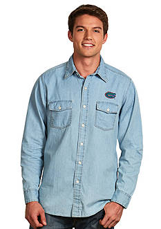 Antigua Florida Gators Long Sleeve Chambray Shirt