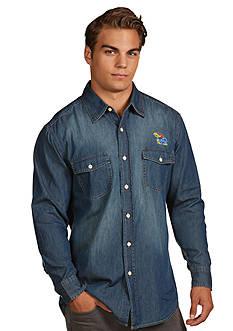 Antigua Kansas Jayhawks Long Sleeve Chambray Shirt
