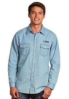 Antigua LSU Tigers Long Sleeve Chambray Shirt