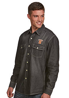 Antigua Syracuse Orange Long Sleeve Chambray Shirt