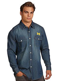 Antigua Michigan Wolverines Long Sleeve Chambray Shirt