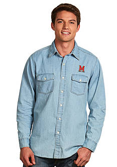 Antigua Maryland Terrapins Long Sleeve Chambray Shirt
