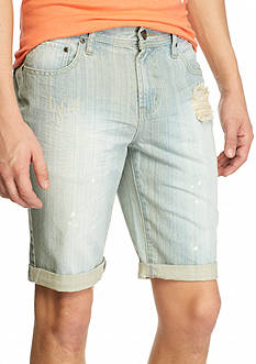 Red Camel Bleached Indigo Painter Denim Shorts
