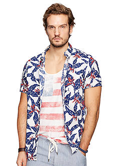 Denim & Supply Ralph Lauren Leaf-Print Poplin Sport Shirt