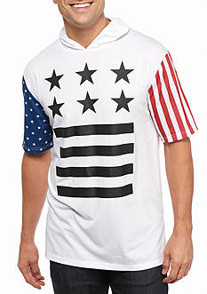 Masterpiece Short Sleeve Stars and Striped Hooded Tee