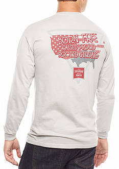 Saturday Down South Comfort Colors Born Free, Raised Proud, Rooted Strong Long Sleeve Pocket Tee