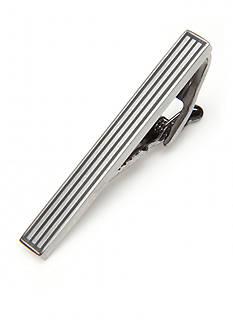 Kenneth Cole Reaction Ribbed Brushed Gun Metal Tie Bar