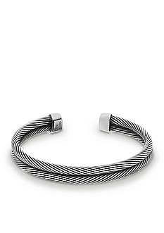 Steve Madden Silver-tone 2-Strand Twisted Cuff Bracelet
