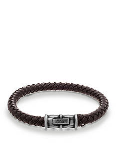 Steve Madden Silver-Tone Black Braided Leather Bracelet