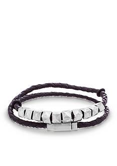 Steve Madden Silver-Tone Studded Black Leather Wrap Bracelet