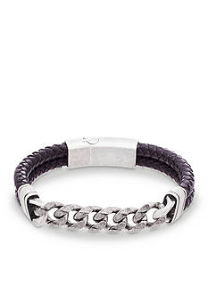 Steve Madden Silver-Tone Chain Link and Leather Bracelet