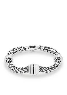Steve Madden Silver-Tone Oval Wheat Chain Bracelet