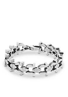 Steve Madden Silver-Tone Horshoe Link Bracelet