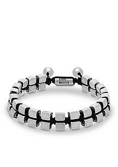 Steve Madden Silver-Tone Cube Beaded Slider Bracelet