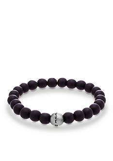 Steve Madden Silver-Tone Black Beaded Stretch Bracelet