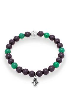 Steve Madden Silver-Tone Black and Green Beaded Hamsa Stretch Bracelet