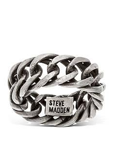 Steve Madden Silver-Tone Curb Chain Band Ring