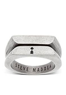 Steve Madden Silver-Tone Textured Flat Arrow Ring