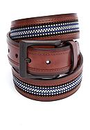 Columbia™ Fabric Belt with Leather Trim