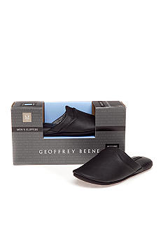 Geoffrey Beene Leather Memory Foam Slippers