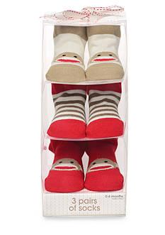 Rashti & Rashti® Sock Monkey 3-Piece Sock Set