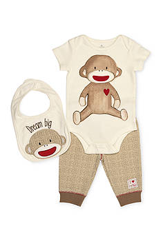 Rashti & Rashti 3-Piece Sock Monkey Bodysuit, Pant, and Bib Set