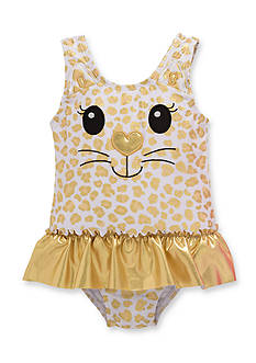 Candlesticks&reg Foil Print Kitty One Piece Swimsuit Toddler Girls
